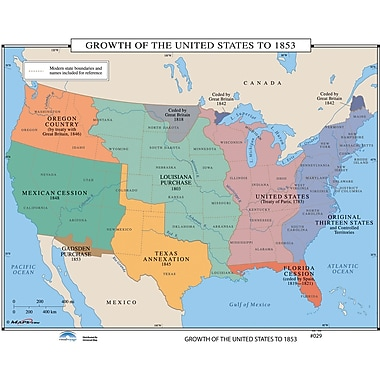 Universal Map U.S. History Wall Maps - Growth of U.S. to 1853