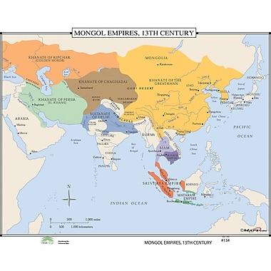 Universal Map World History Wall Maps - Mongol Empires 13th Century