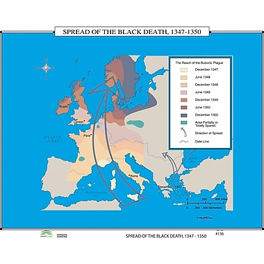 Universal Map World History Wall Maps - Spread of Black Death