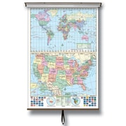 Universal Map U.S. and World Stacked Wall Map on Roller w/ Backboard