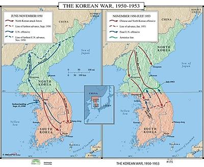 Universal Map World History Wall Maps - The Korean War 1950-53