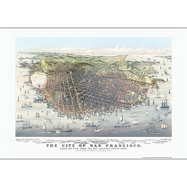 Universal Map San Francisco 1878 Historical Print Mounted Wall Map