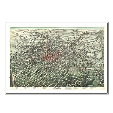 Universal Map Atlanta 1892 Historical Print Mounted Framed Wall Map; Silver