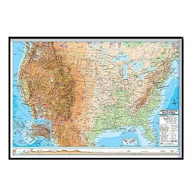 Universal Map United States Advanced Physical Mounted Framed Wall Map; Black