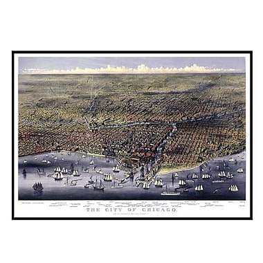 Universal Map Chicago 1874 Historical Print Mounted Framed Wall Map; Black
