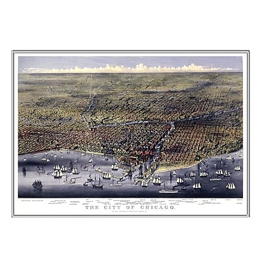 Universal Map Chicago 1874 Historical Print Mounted Framed Wall Map; Silver