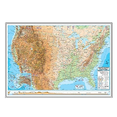 Universal Map United States Advanced Physical Mounted Framed Wall Map; Silver