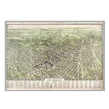 Universal Map Los Angeles 1909 Historical Print Mounted Framed Wall Map; Silver