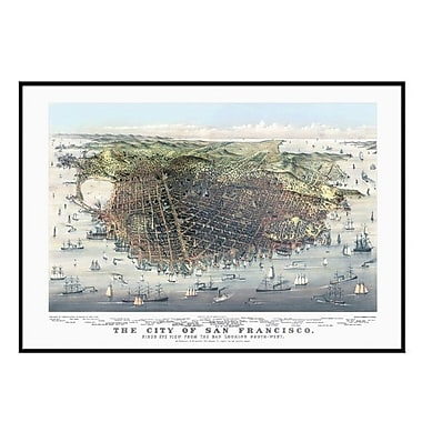 Universal Map San Francisco 1878 Historical Print Mounted Framed Wall Map; Black