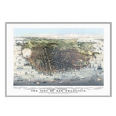 Universal Map San Francisco 1878 Historical Print Mounted Framed Wall Map; Silver