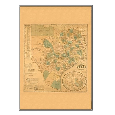 Universal Map Texas 1853 Historical Print Mounted Framed Wall Map; Silver