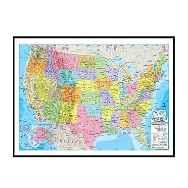 Universal Map United States Advanced Political Mounted Framed Wall Map; Black