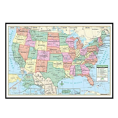Universal Map United States Primary Mounted Framed Wall Map Black - Framed us map