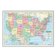 Universal Map United States Primary Mounted Framed Wall Map; Silver