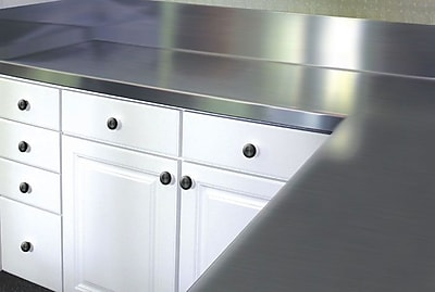 A-Line by Advance Tabco Stainless Steel Counter Top w/ Blacksplash; 13'' H x 120'' W x 24'' D