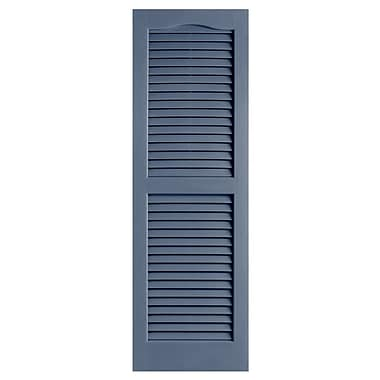 Alpha Shutters Exterior 14'' x 51'' Louvered Shutter (Set of 2); Blue