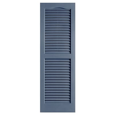Alpha Shutters Exterior 14'' x 35'' Louvered Shutter (Set of 2); Blue