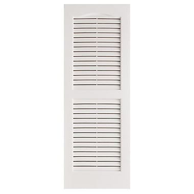 Alpha Shutters Exterior 14'' x 47'' Louvered Shutter (Set of 2); White