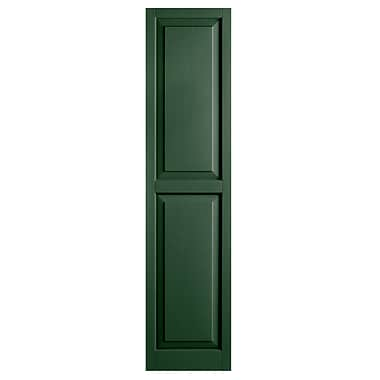 Alpha Shutters Exterior 15'' x 55'' Raised Panel Shutter (Set of 2); Green