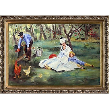 Tori Home The Monet Family in the Garden by Edouard Manet Framed Painting Print on Wrapped Canvas