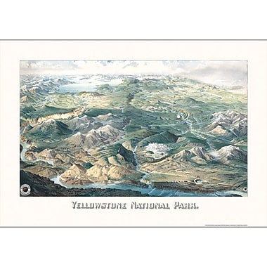 Universal Map Yellowstone National Park 1904 Historical Print Mounted Wall Map