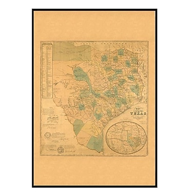 Universal Map Texas 1853 Historical Print Mounted Framed Wall Map; Black