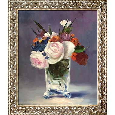 Tori Home Flowers in a Crystal Vase by Edouard Manet Framed Painting Print on Wrapped Canvas