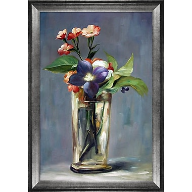 Carnations and Clematis in a Crystal Vase by Edouard Manet Framed Painting Print on Wrapped Canvas