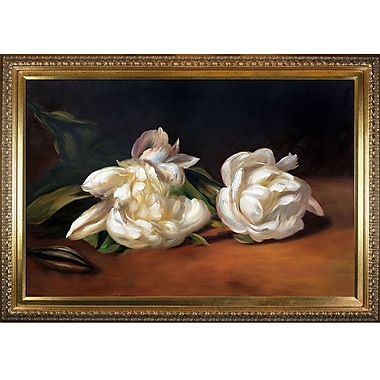 Branch of White Peonies w/ Pruning Shears by Edouard Manet Framed Painting Print on Wrapped Canvas