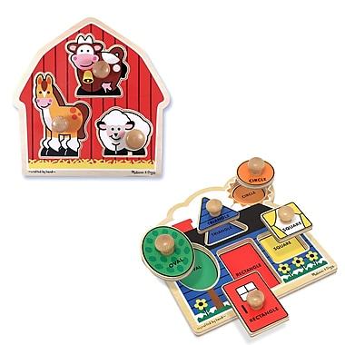 Melissa & Doug Jumbo Knob Puzzle Bundle #1, 3.4