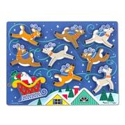 """Melissa & Doug Santa's Sleigh Chunky Puzzle, 15.7"""" x 11.7"""" x 0.9"""", (3717)"""
