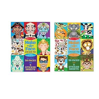 Melissa & Doug Make-a-Face Bundle - Crazy Characters & Animals, Full Color, 300 + Stickers, 11