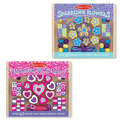 Melissa & Doug M&D Flowers & Hearts Small Bead Set Bundle, 6