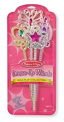 Melissa & Doug Dress-Up Wands, Sparkling Jewel Accents, 4 Wands (8550)