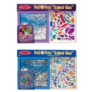 "Melissa & Doug Peel & Press Stained Glass Bundle - Rainbow Garden and Undersea Fantasy, 14.65"" x 10.15"" x 1.1"", (8954)"