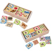 "Melissa & Doug Self-Correcting Letters and Numbers Puzzle Bundle,12.75"" x 5.75"" x 5.5"", (8956)"