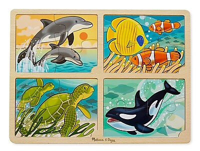 Melissa & Doug 4-in-1 Sea Life Jigsaw Puzzle, 15.7