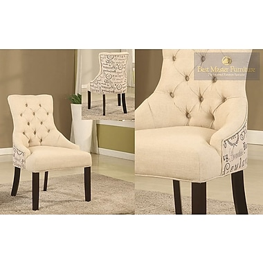 BestMasterFurniture Natural Fabric Side Chair (Set of 2)
