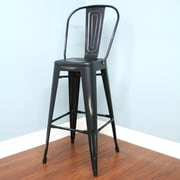 AC Pacific 24'' Bar Stool (Set of 2); Black