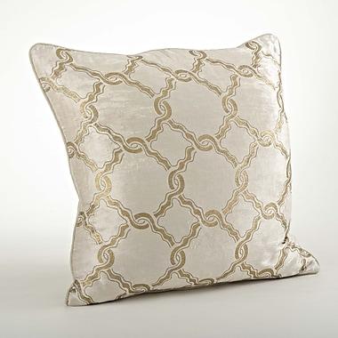 Saro Velours Velvet Chain Link Cotton Throw Pillow; Gold