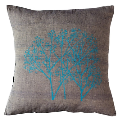 Sustainable Threads Forest Frost on Graphite Cotton Throw Pillow