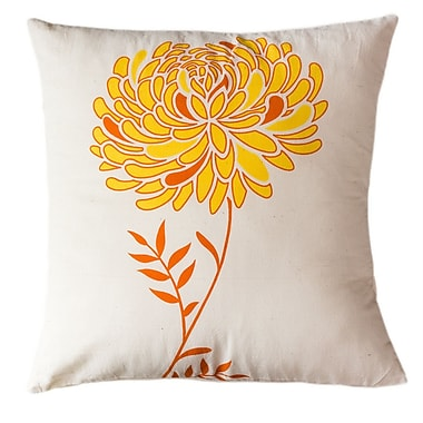 Sustainable Threads Solar Dahlia Cotton Throw Pillow; Small