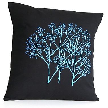 Sustainable Threads Forest Frost on Charcoal Cotton Throw Pillow; Small
