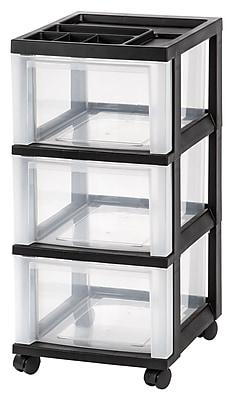 IRIS® 3-Drawer Storage Cart, Black, 2 Pack (116807)