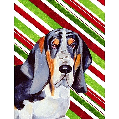 Caroline's Treasures Basset Hound Candy Cane Holiday Christmas 2-Sided Garden Flag