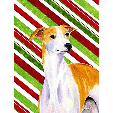 Caroline's Treasures Whippet Candy Cane Holiday Christmas 2-Sided Garden Flag