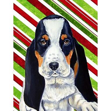 Caroline's Treasures Basset Hound Candy Cane Holiday Christmas 2-Sided Garden Flag