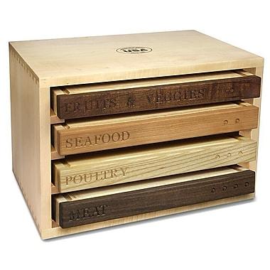 Martins Homewares Healthy Living 4 Piece Culinary Cutting Board w/ Storage Center Set