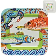 Thompson and Elm Dana Wittmann Coastal Fish/Crab Handpainted Ceramic Square Platter