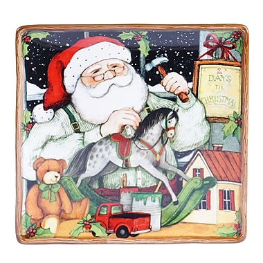 Certified International Santa's Workshop Square Platter; 12.25
